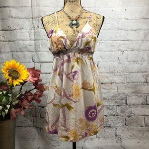 Anthropologie-Lux 100% Silk Floral Smocked Dress